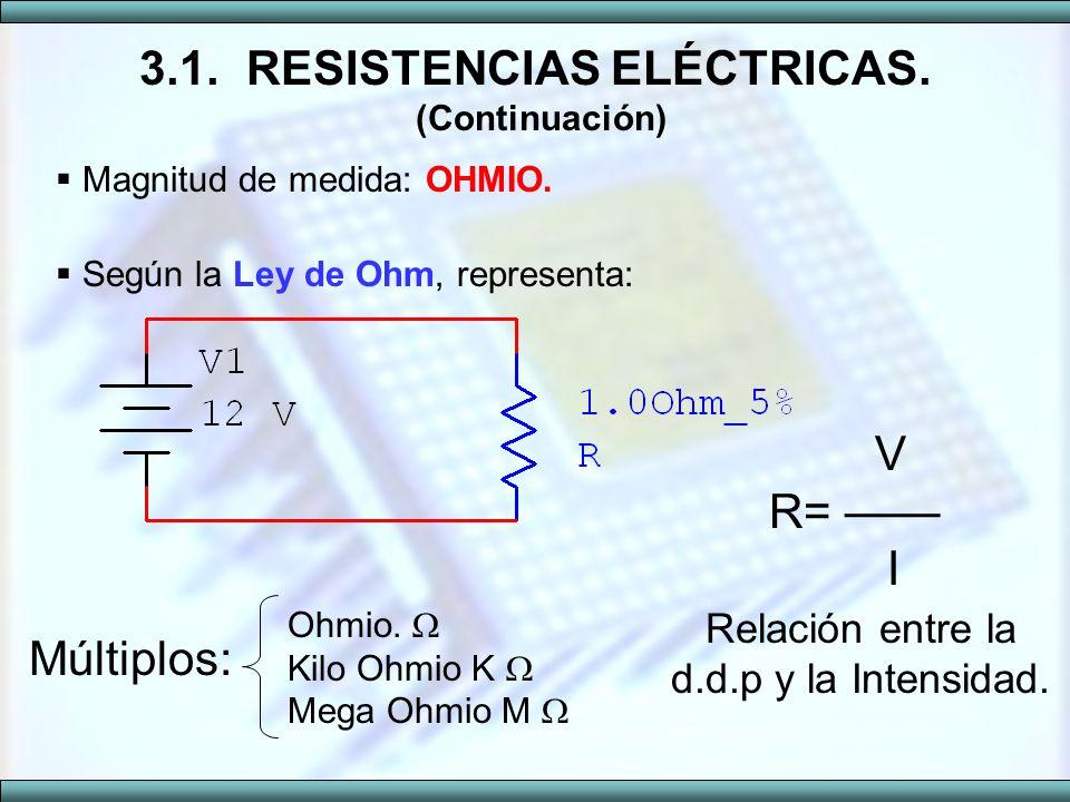 3.1. RESISTENCIAS ELÉCTRICAS. (Continuación)