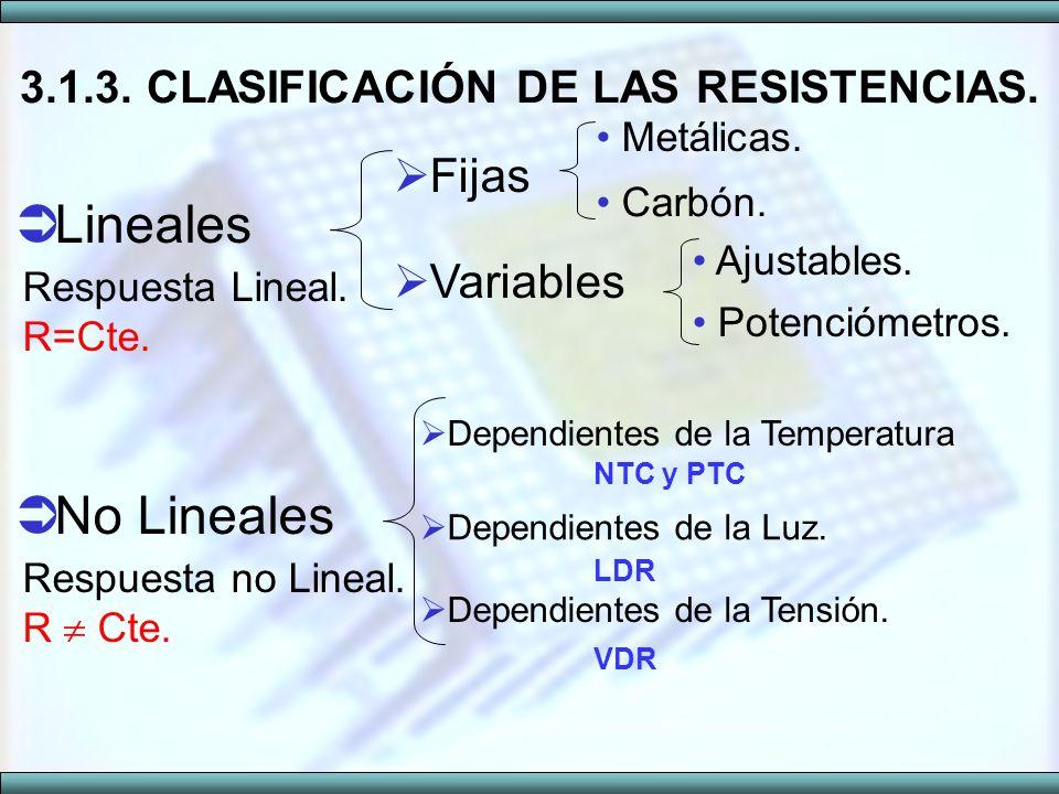 3.1.3. CLASIFICACIÓN DE LAS RESISTENCIAS.