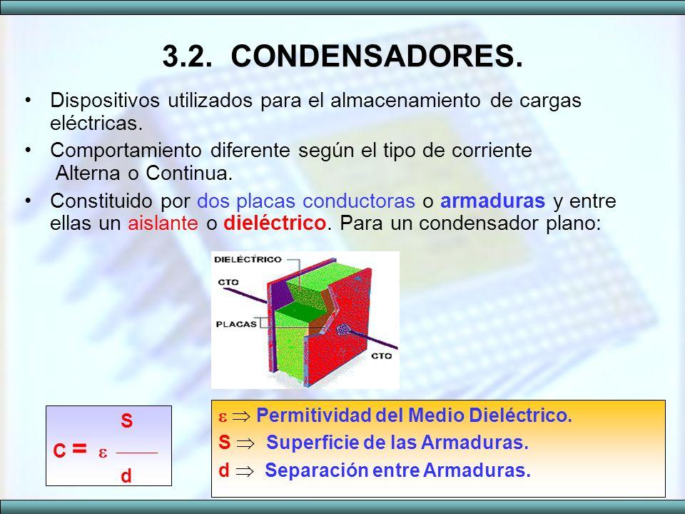 3.2. CONDENSADORES. Dispositivos utilizados para el almacenamiento de cargas eléctricas.