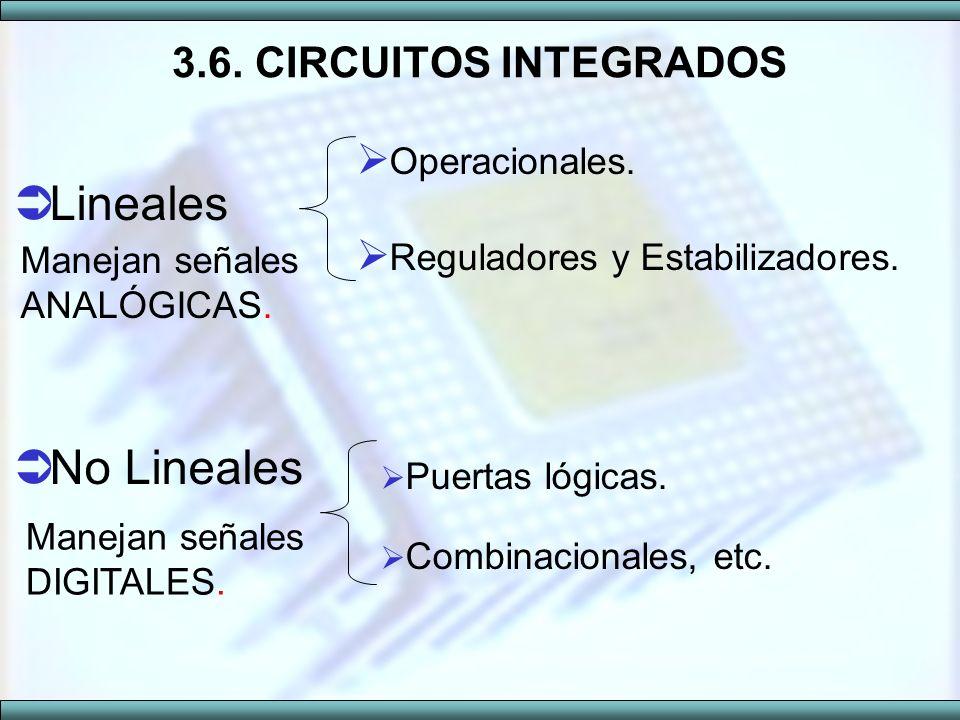 Lineales No Lineales 3.6. CIRCUITOS INTEGRADOS Operacionales.