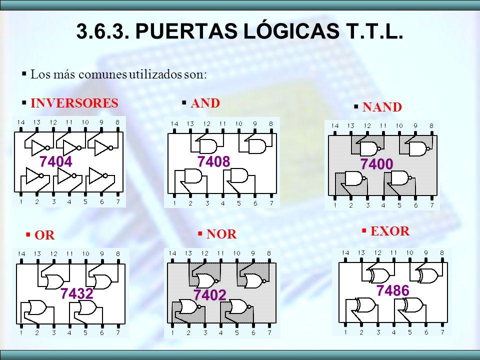 3.6.3. PUERTAS LÓGICAS T.T.L. Los más comunes utilizados son: