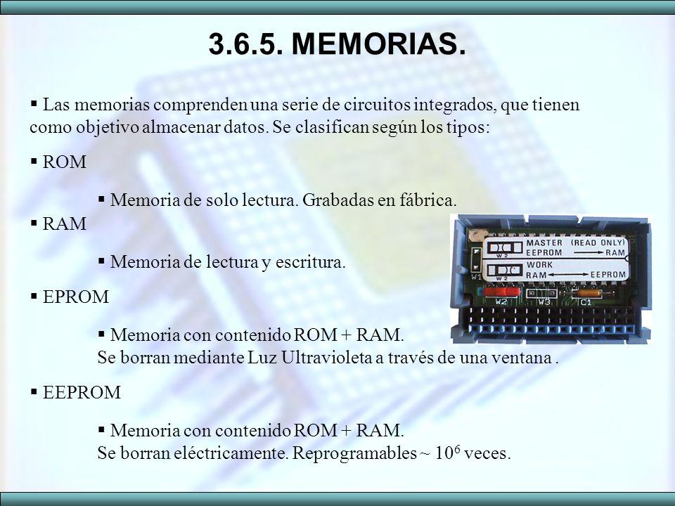 3.6.5. MEMORIAS. Las memorias comprenden una serie de circuitos integrados, que tienen como objetivo almacenar datos. Se clasifican según los tipos: