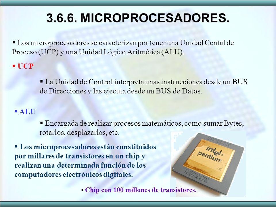 3.6.6. MICROPROCESADORES. Los microprocesadores se caracterizan por tener una Unidad Cental de Proceso (UCP) y una Unidad Lógico Aritmética (ALU).