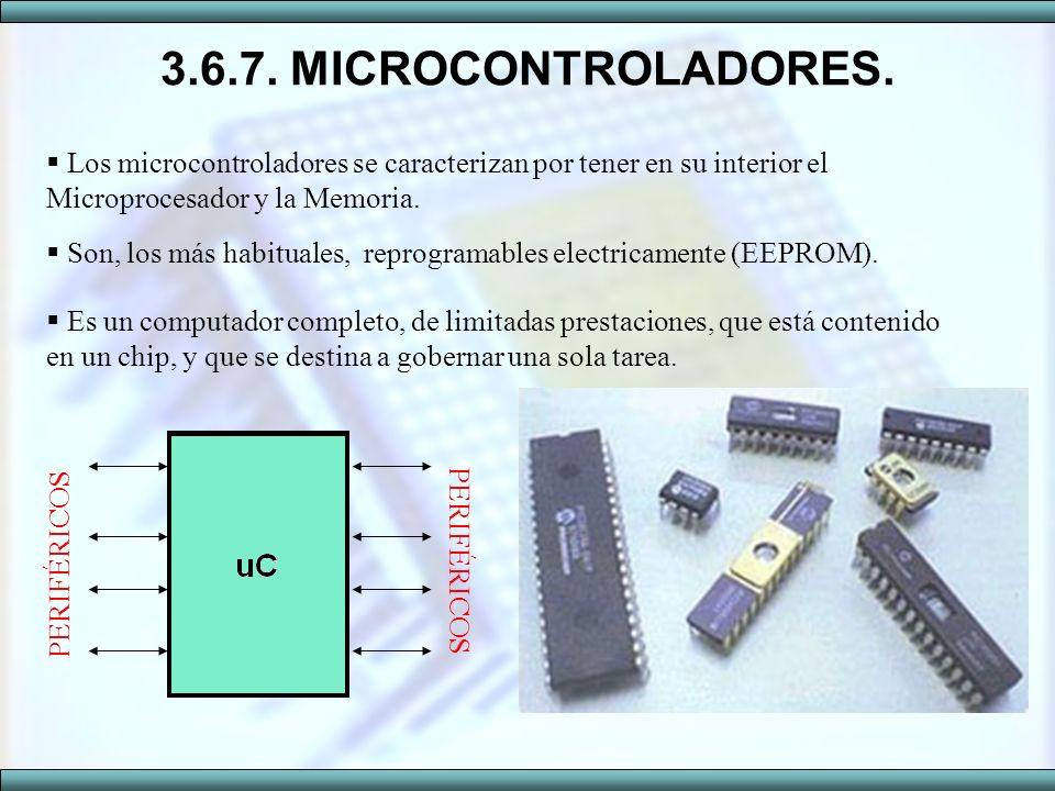 3.6.7. MICROCONTROLADORES. Los microcontroladores se caracterizan por tener en su interior el Microprocesador y la Memoria.