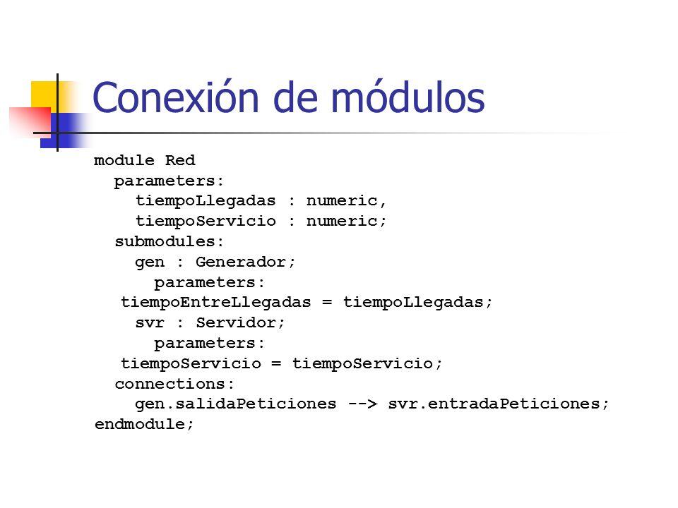 Conexión de módulos module Red parameters: tiempoLlegadas : numeric,