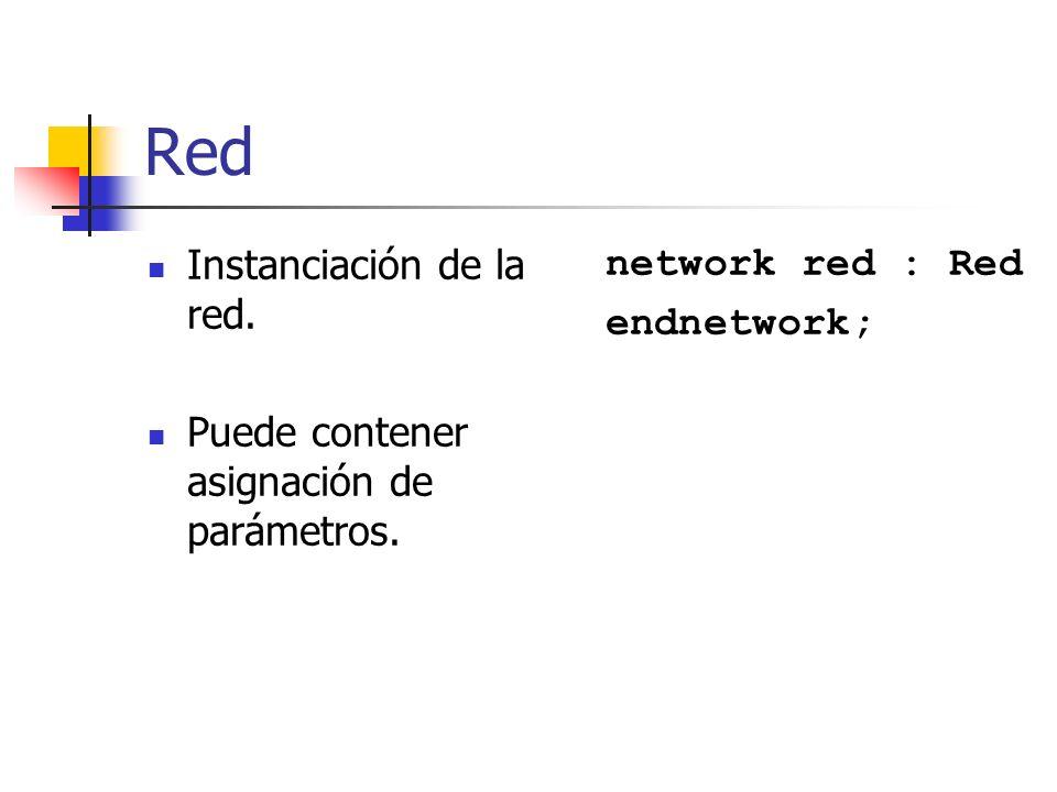 Red Instanciación de la red. Puede contener asignación de parámetros.