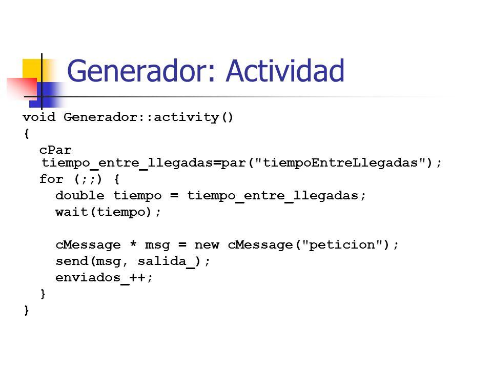 Generador: Actividad void Generador::activity() {