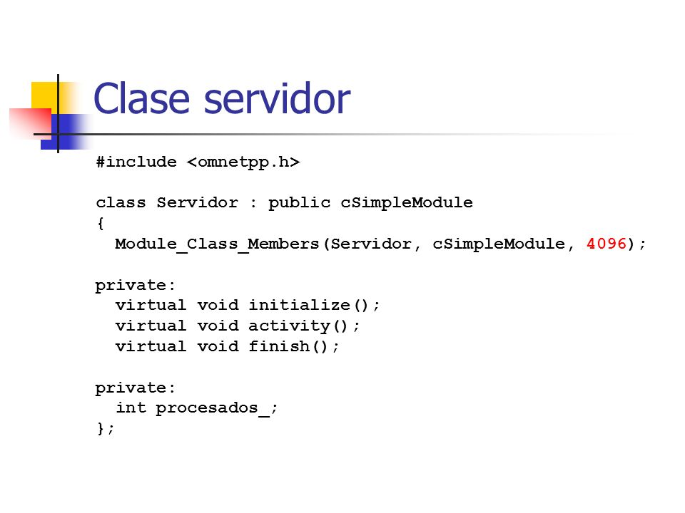Clase servidor #include <omnetpp.h>