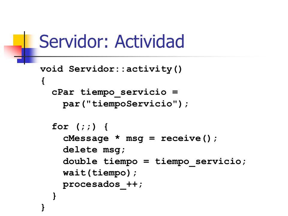 Servidor: Actividad void Servidor::activity() { cPar tiempo_servicio =