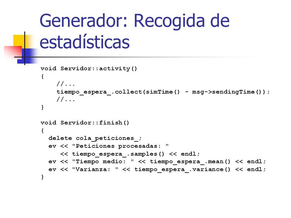 Generador: Recogida de estadísticas