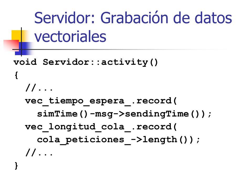 Servidor: Grabación de datos vectoriales