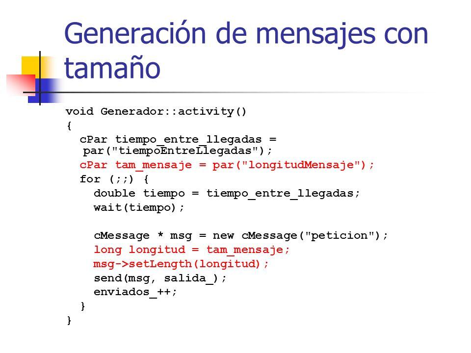 Generación de mensajes con tamaño