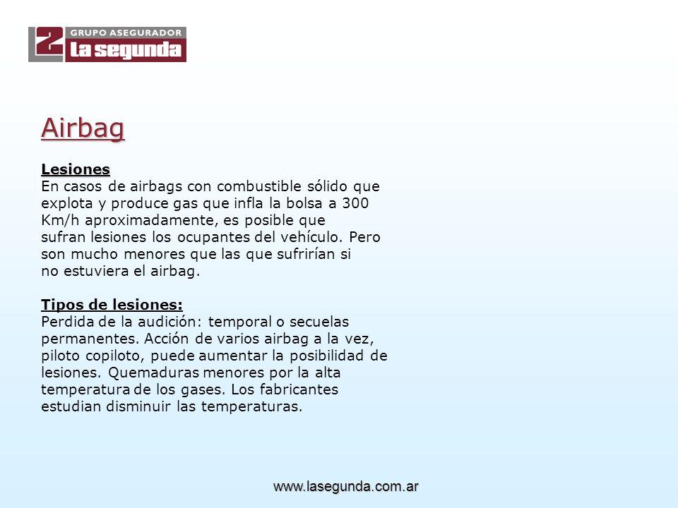 Airbag Lesiones En casos de airbags con combustible sólido que