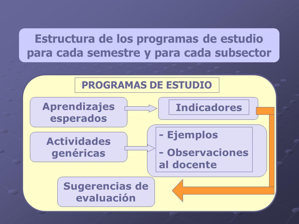 Aprendizajes esperados Actividades genéricas Sugerencias de evaluación