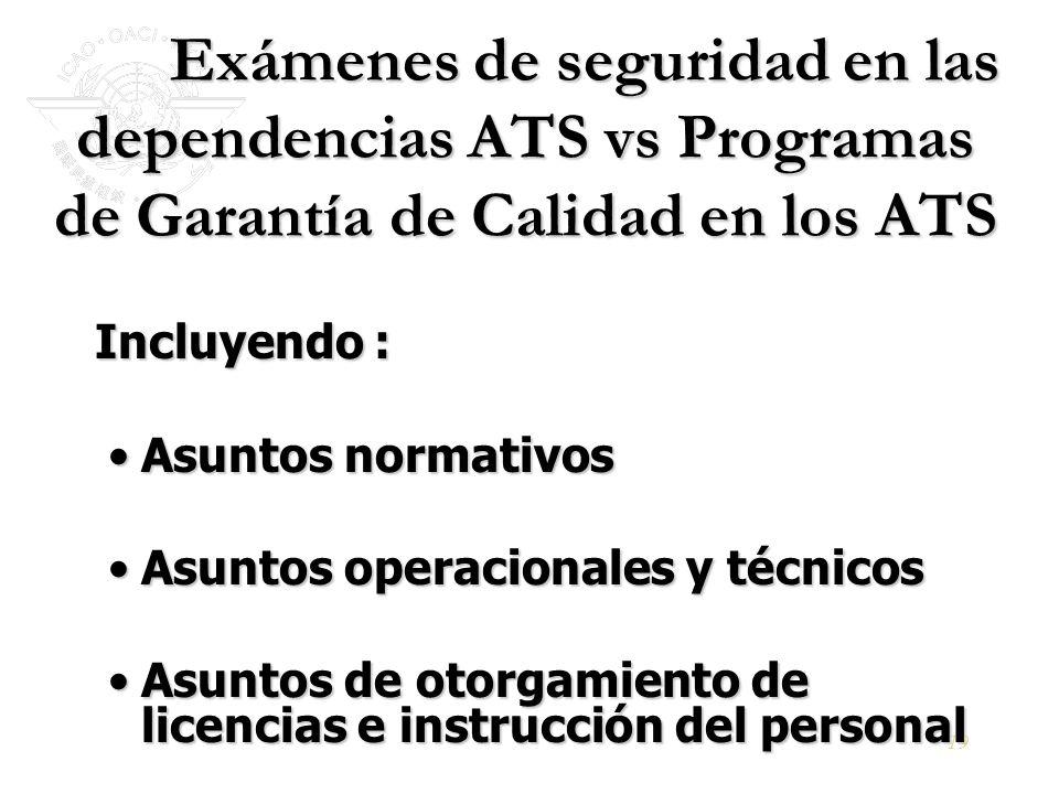 Exámenes de seguridad en las dependencias ATS vs Programas de Garantía de Calidad en los ATS
