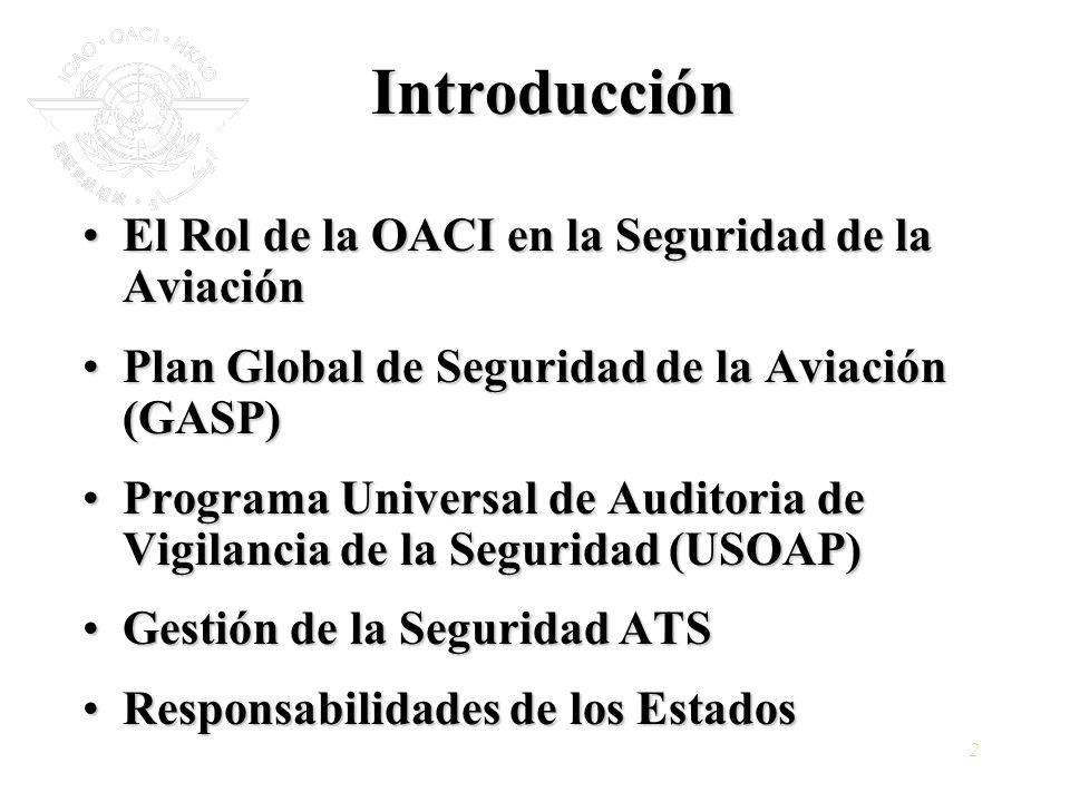 Introducción El Rol de la OACI en la Seguridad de la Aviación