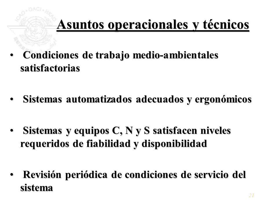 Asuntos operacionales y técnicos