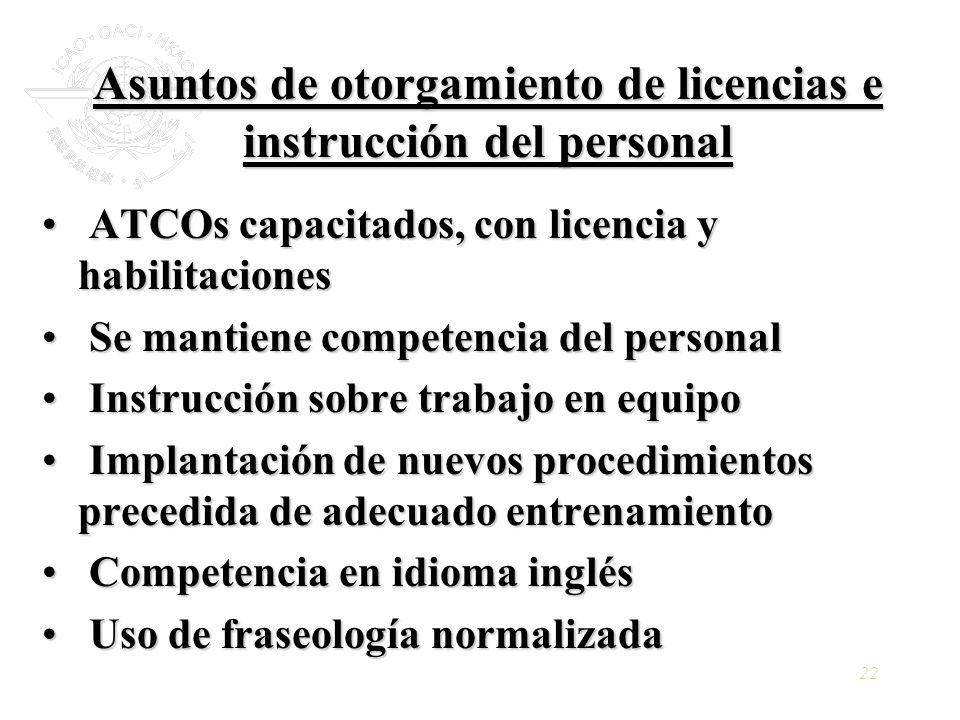 Asuntos de otorgamiento de licencias e instrucción del personal