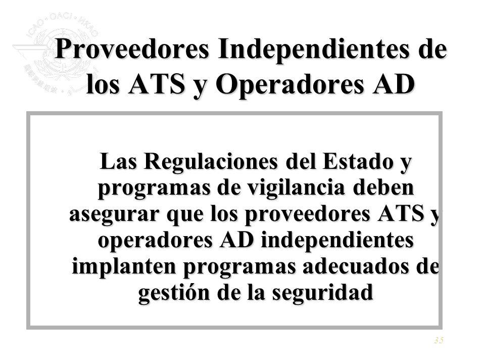 Proveedores Independientes de los ATS y Operadores AD