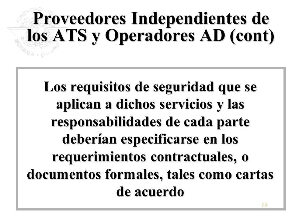 Proveedores Independientes de los ATS y Operadores AD (cont)
