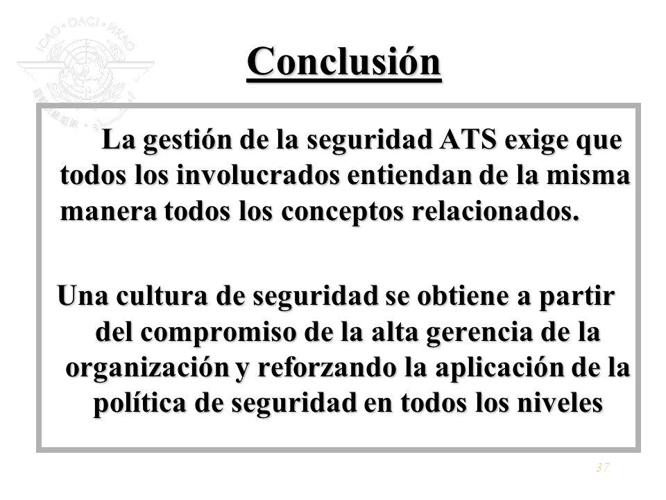 Conclusión La gestión de la seguridad ATS exige que todos los involucrados entiendan de la misma manera todos los conceptos relacionados.