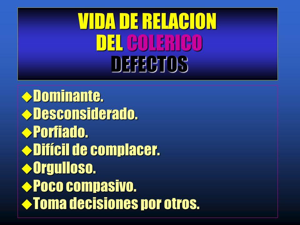 VIDA DE RELACION DEL COLERICO DEFECTOS