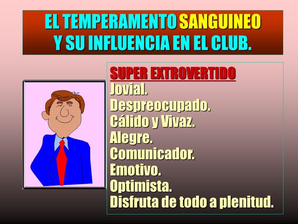 EL TEMPERAMENTO SANGUINEO Y SU INFLUENCIA EN EL CLUB.