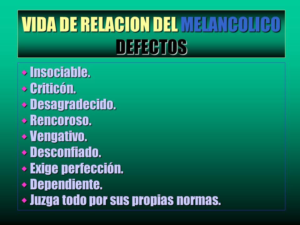 VIDA DE RELACION DEL MELANCOLICO DEFECTOS