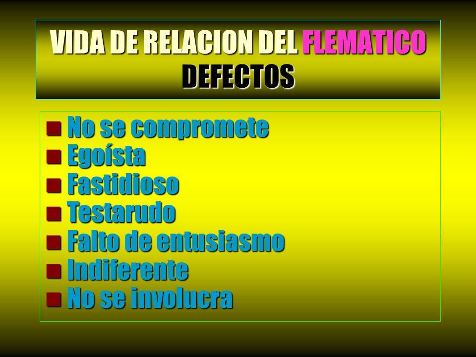 VIDA DE RELACION DEL FLEMATICO DEFECTOS