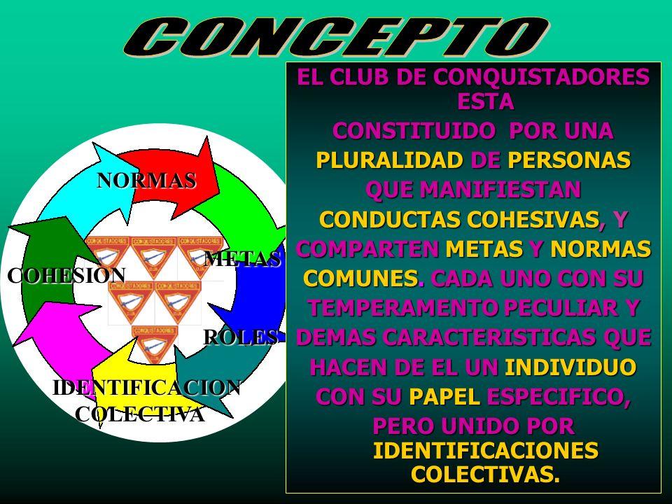 CONCEPTO EL CLUB DE CONQUISTADORES ESTA CONSTITUIDO POR UNA