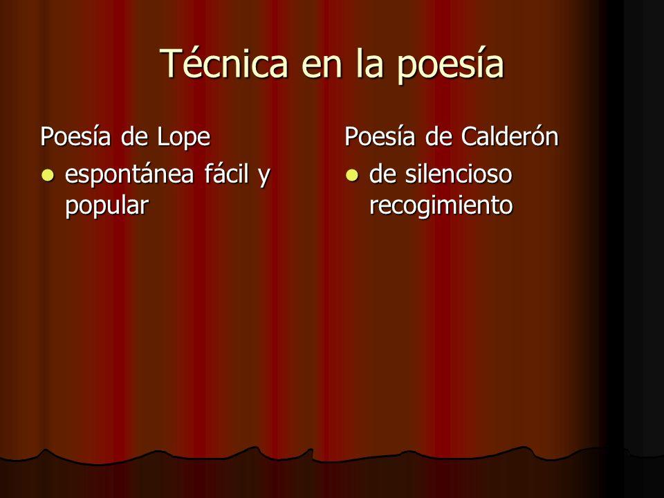 Técnica en la poesía Poesía de Lope espontánea fácil y popular