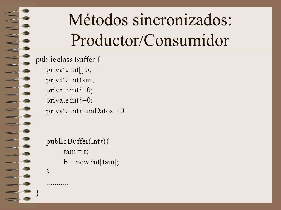 Métodos sincronizados: Productor/Consumidor
