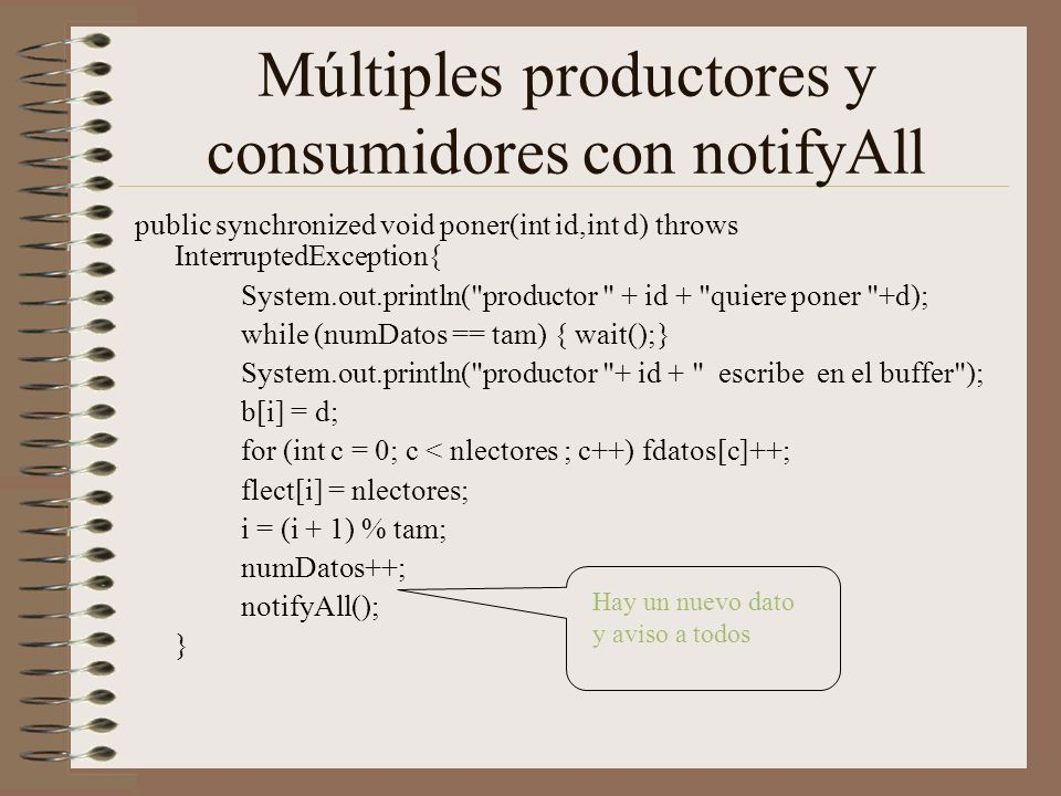Múltiples productores y consumidores con notifyAll