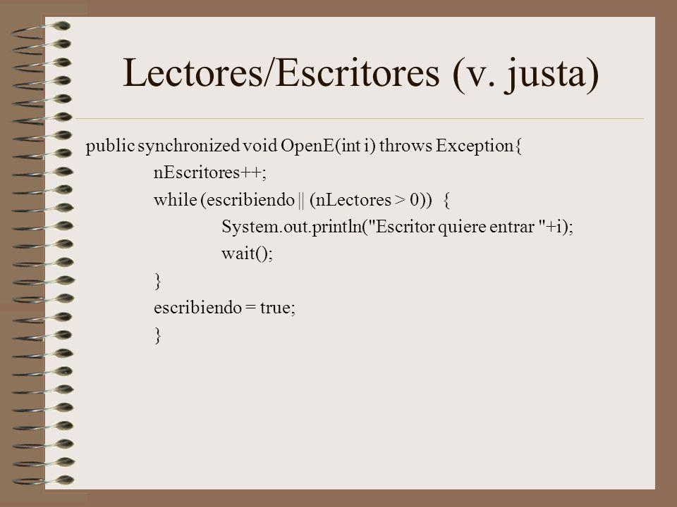 Lectores/Escritores (v. justa)