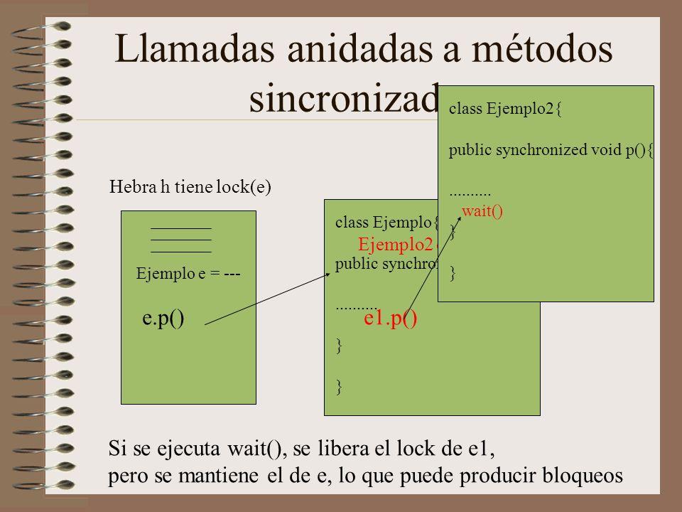 Llamadas anidadas a métodos sincronizados