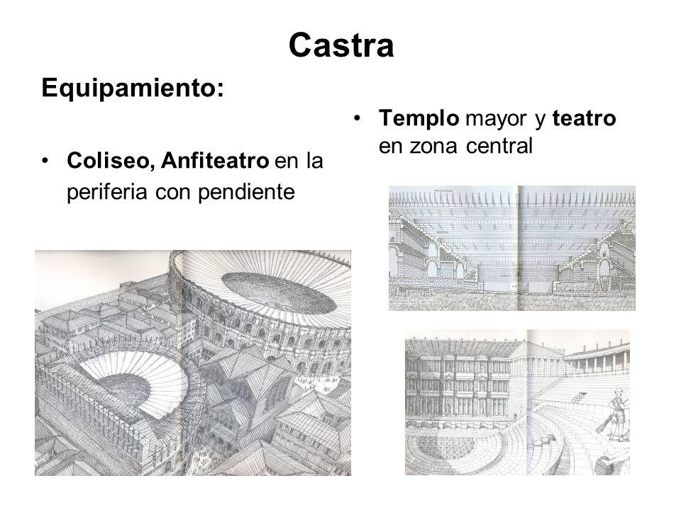 Castra Equipamiento: Templo mayor y teatro en zona central