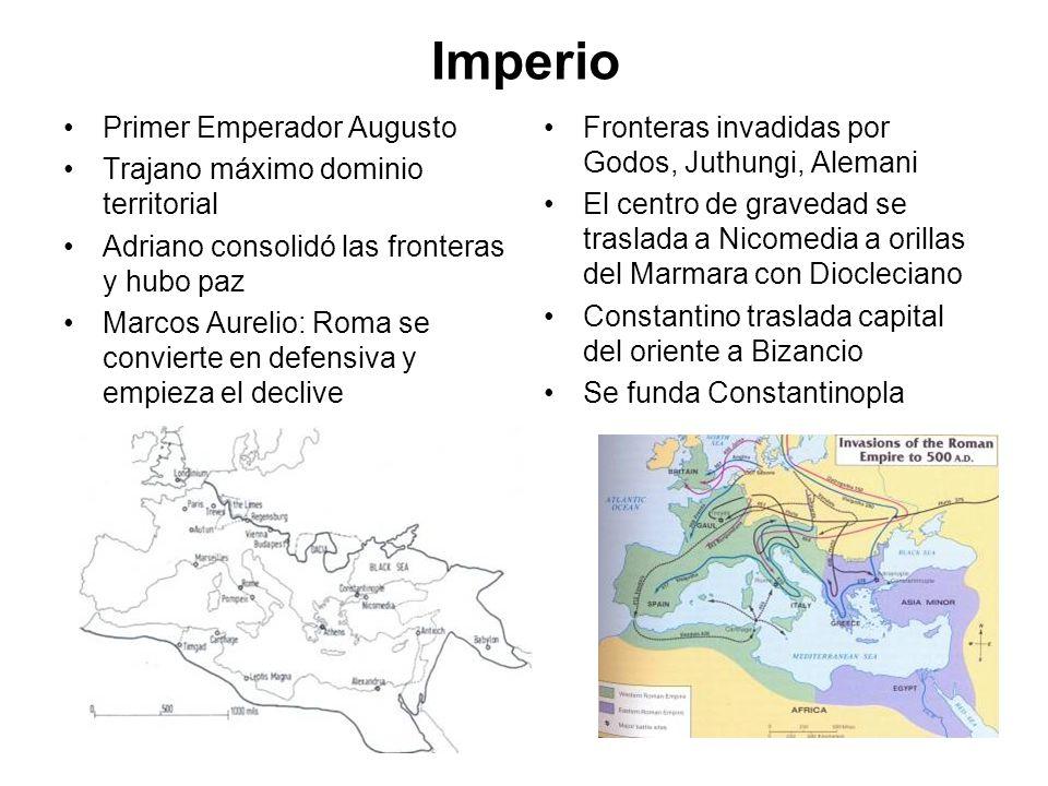 Imperio Primer Emperador Augusto Trajano máximo dominio territorial