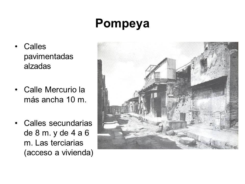Pompeya Calles pavimentadas alzadas Calle Mercurio la más ancha 10 m.