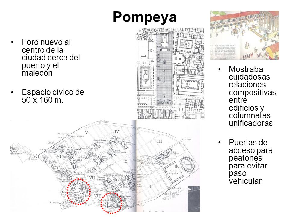 Pompeya Foro nuevo al centro de la ciudad cerca del puerto y el malecón. Espacio cívico de 50 x 160 m.