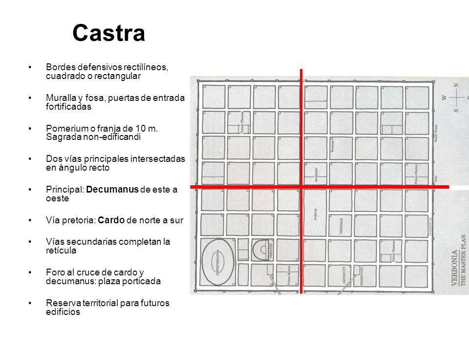 Castra Bordes defensivos rectilíneos, cuadrado o rectangular