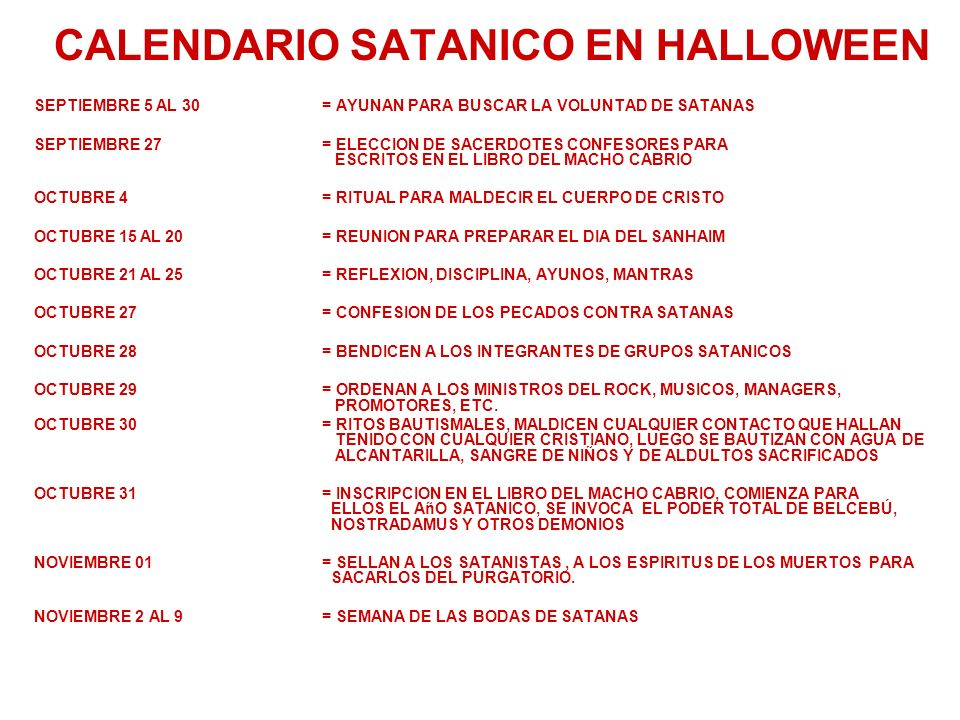 CALENDARIO SATANICO EN HALLOWEEN
