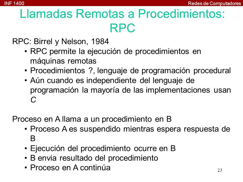 Llamadas Remotas a Procedimientos: