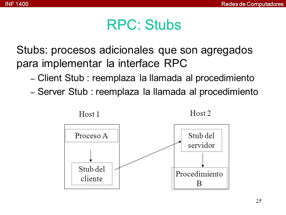 RPC: Stubs Stubs: procesos adicionales que son agregados para implementar la interface RPC. Client Stub : reemplaza la llamada al procedimiento.