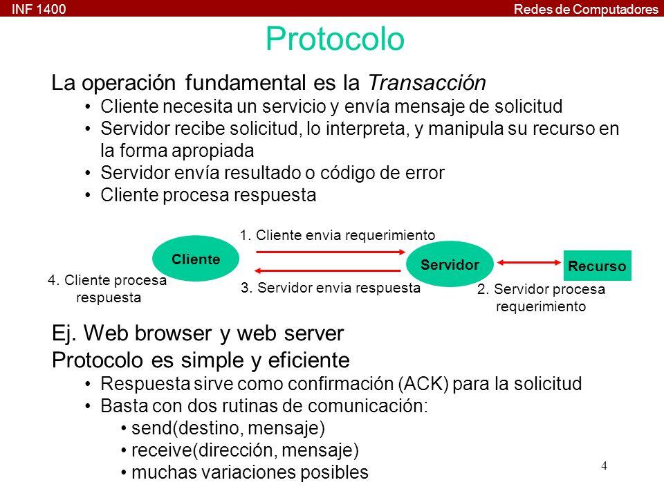 Protocolo La operación fundamental es la Transacción