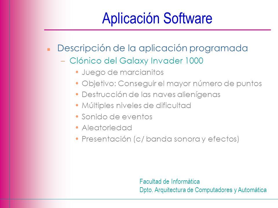 Aplicación Software Descripción de la aplicación programada