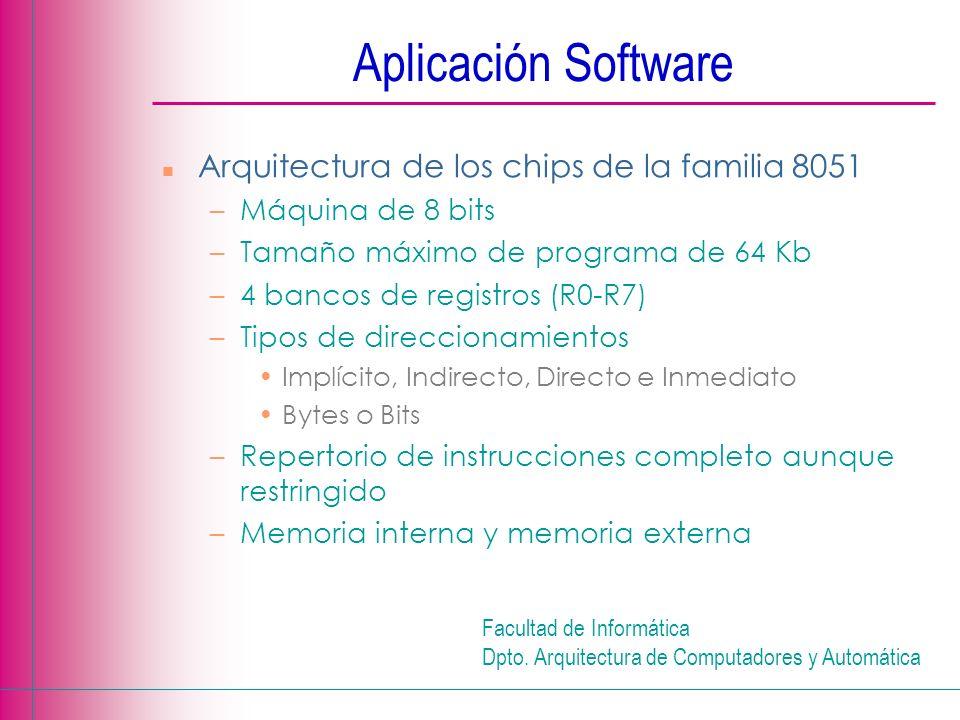 Aplicación Software Arquitectura de los chips de la familia 8051