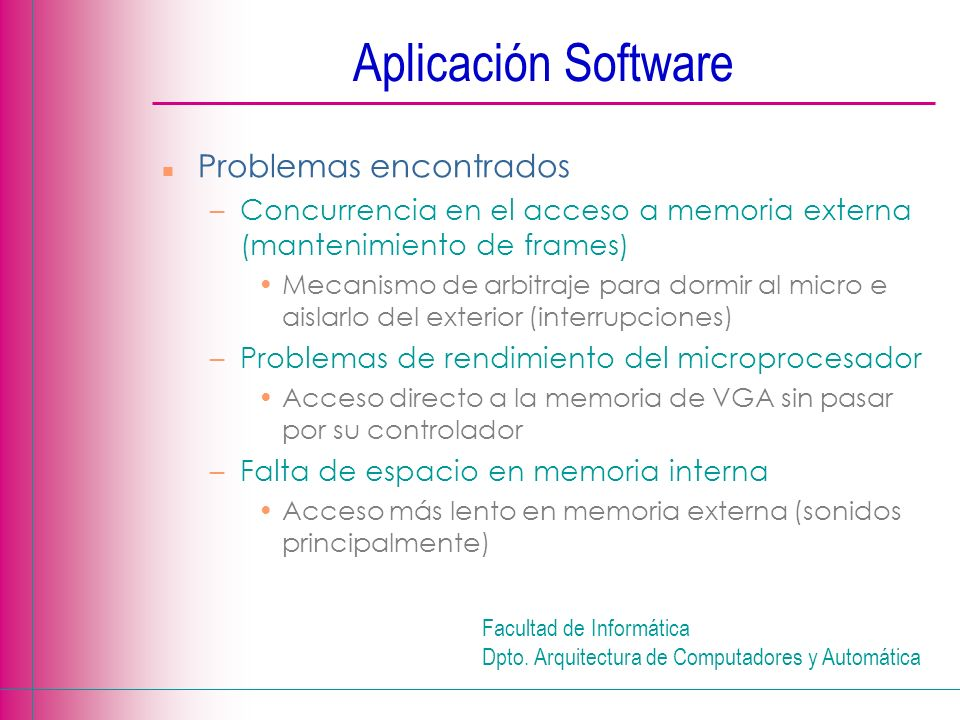 Aplicación Software Problemas encontrados
