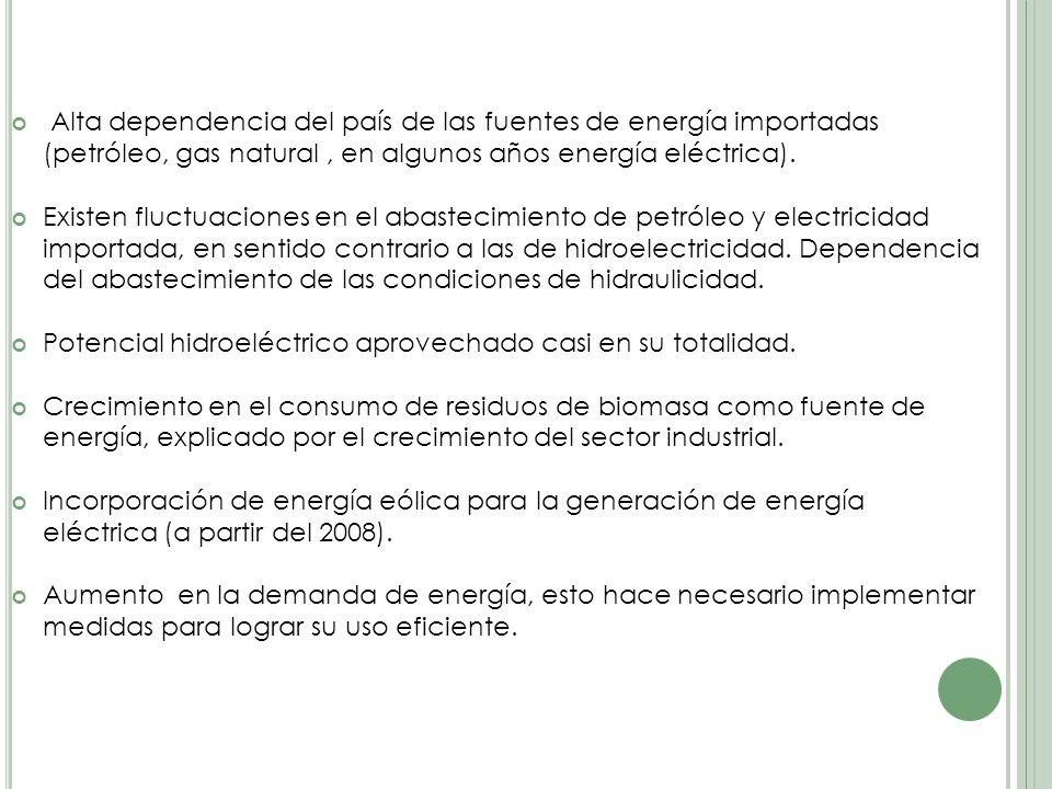 Alta dependencia del país de las fuentes de energía importadas (petróleo, gas natural , en algunos años energía eléctrica).