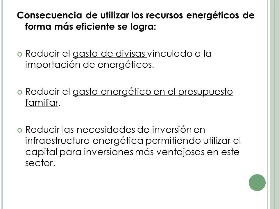 Consecuencia de utilizar los recursos energéticos de forma más eficiente se logra: