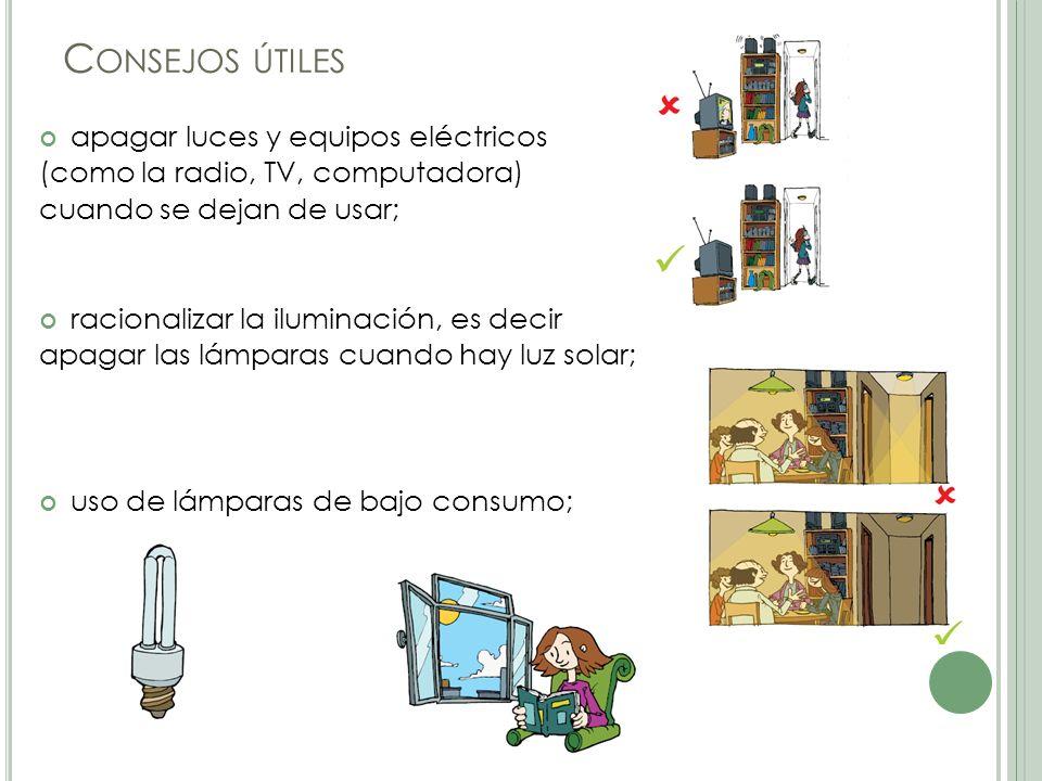 Consejos útiles apagar luces y equipos eléctricos